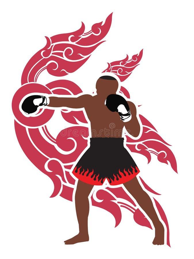 Thaise bokser en Thaise kunstachtergrond stock illustratie