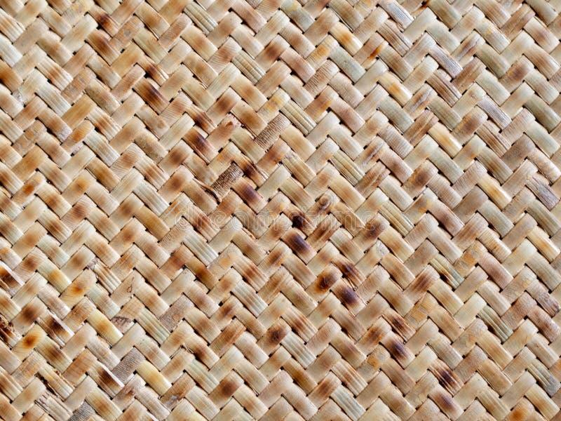 Thaise de aardachtergrond van het stijlpatroon van bruin de textuur rattan& rijs van het ambachtsweefsel royalty-vrije stock foto