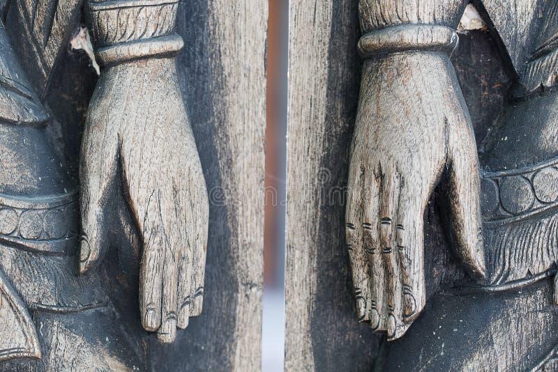 Thaise de stijlhand van de poort houten bout royalty-vrije stock afbeeldingen
