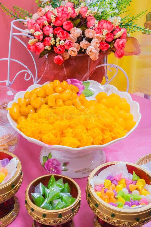Thaise dessert of Khanom Thai royalty-vrije stock foto's