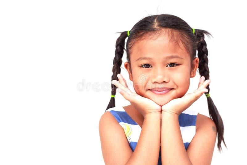 Thaise die kinderen op witte achtergrond worden geïsoleerd stock afbeelding