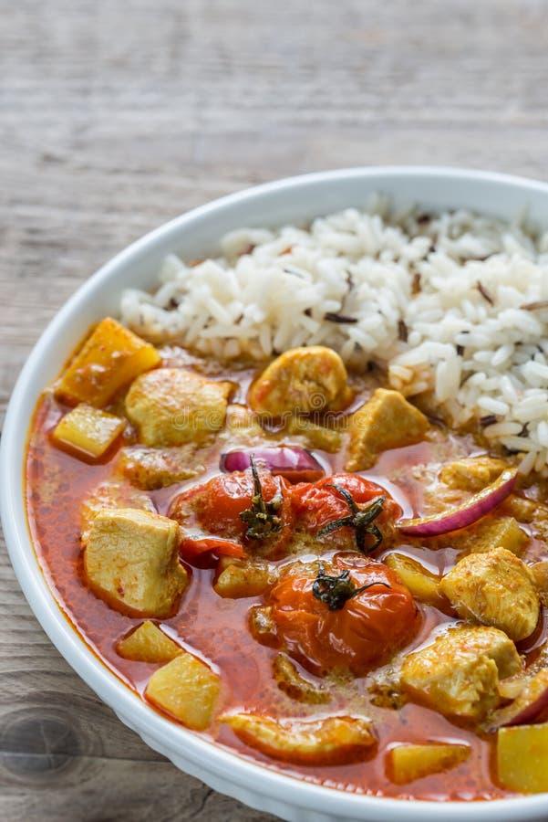 Thaise gele kerrie met kip en rijst stock foto