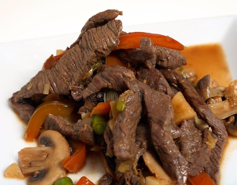 Thaise het be*wegen-gebraden gerechtmacro van het Rundvlees royalty-vrije stock afbeeldingen