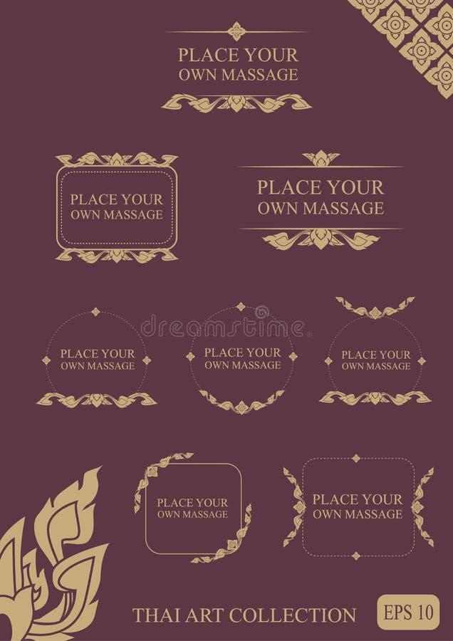 THAISE inzameling van kalligrafische ontwerpelementen en pagina decorat royalty-vrije illustratie