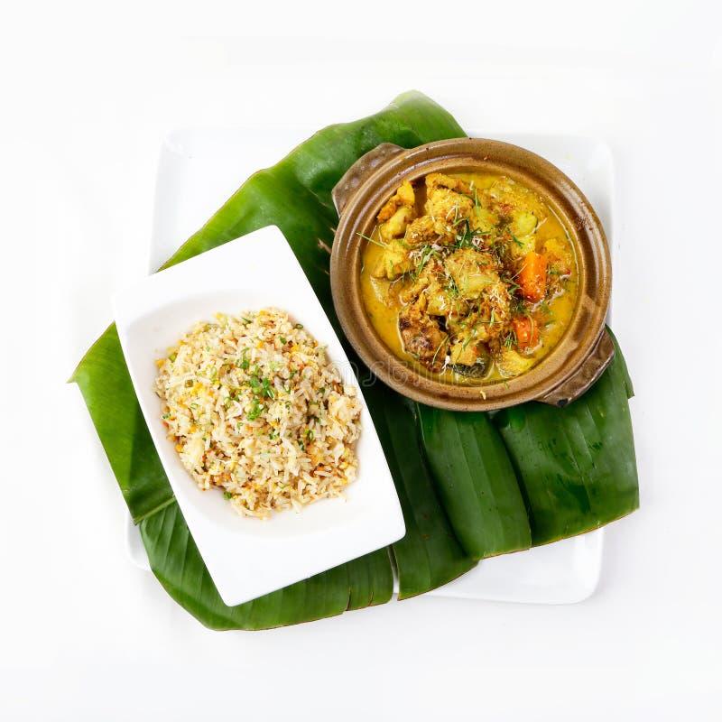 Thaise Kerrie met Fried Rice, Authentiek Thais Fried Rice, Thaise keuken stock afbeeldingen