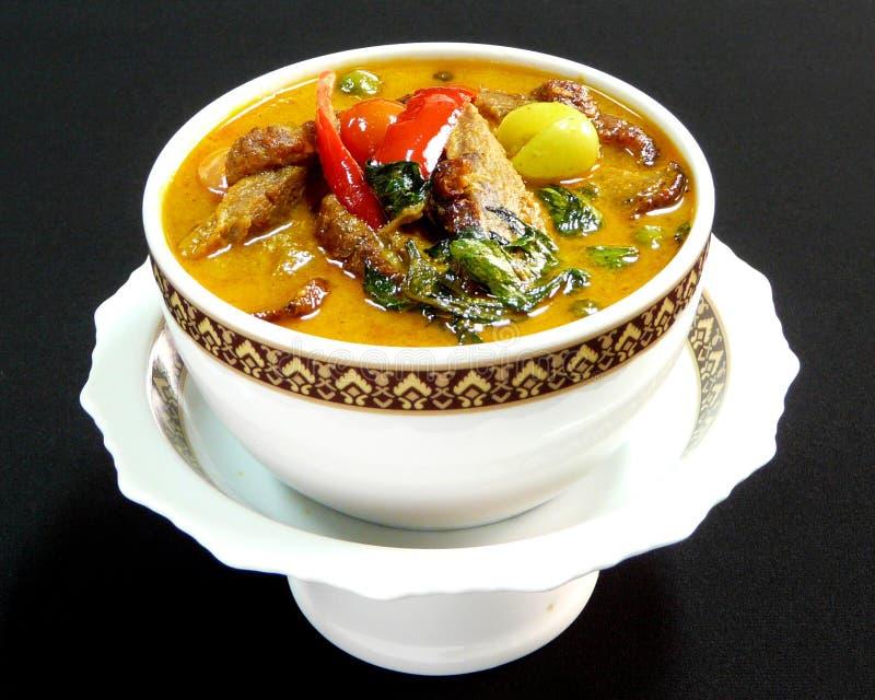 Thaise keuken, rode kerrie met braadstukeend stock foto