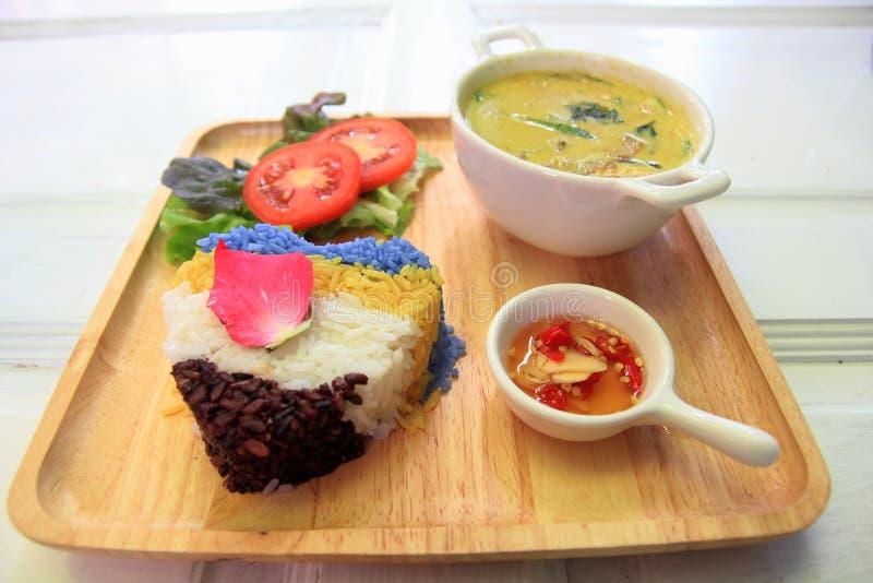Thaise kippen groene kerrie met rijst royalty-vrije stock afbeeldingen