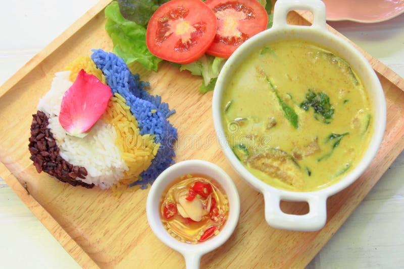 Thaise kippen groene kerrie met rijst royalty-vrije stock afbeelding
