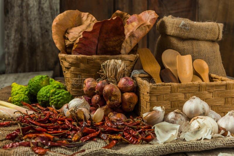 Thaise kokende ingrediënten stock foto's
