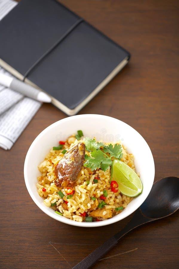 Thaise kruidige gebraden vissen en rijst royalty-vrije stock afbeelding