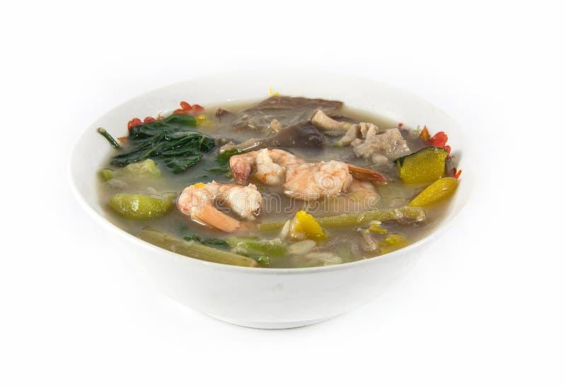 Thaise Kruidige Gemengde Groentesoep met garnalen, royalty-vrije stock afbeelding