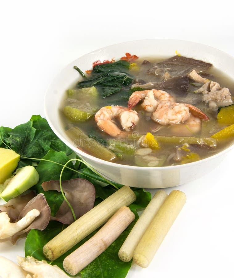 Thaise Kruidige Gemengde Groentesoep met garnalen, stock foto