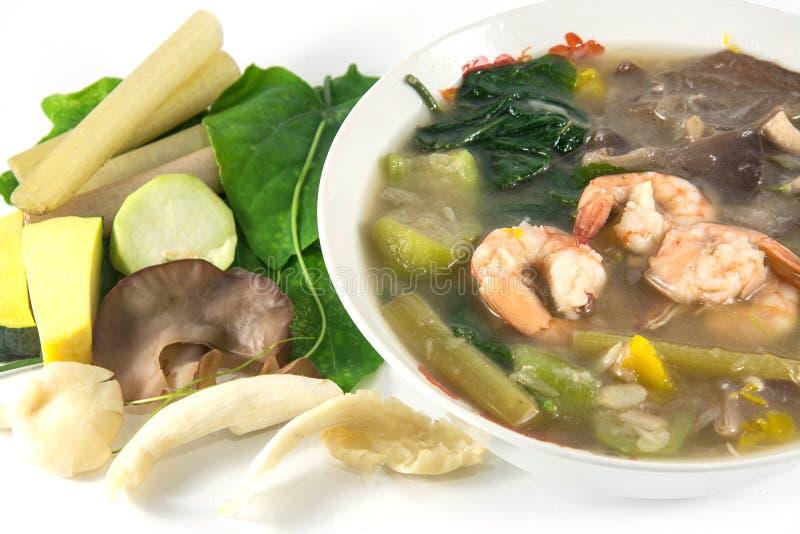 Thaise Kruidige Gemengde Groentesoep met garnalen, stock fotografie
