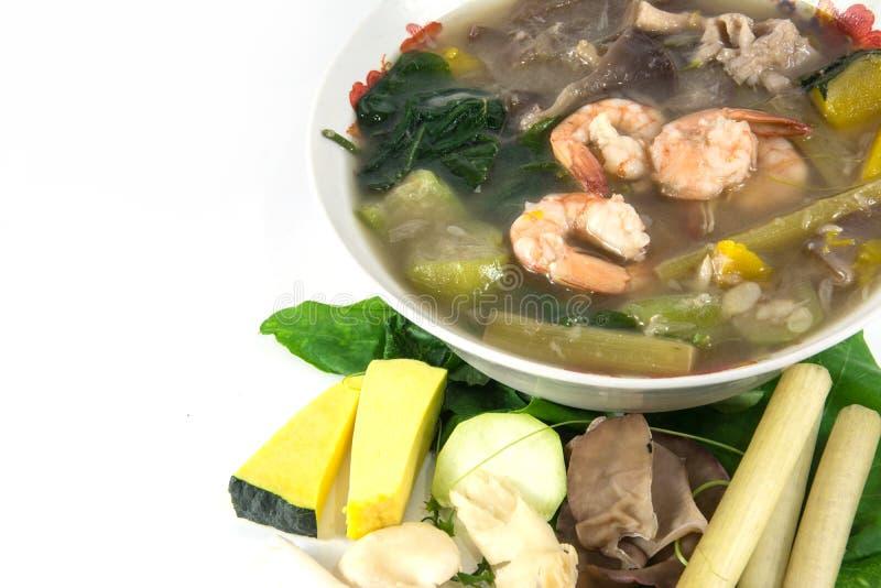 Thaise Kruidige Gemengde Groentesoep met garnalen, stock afbeelding