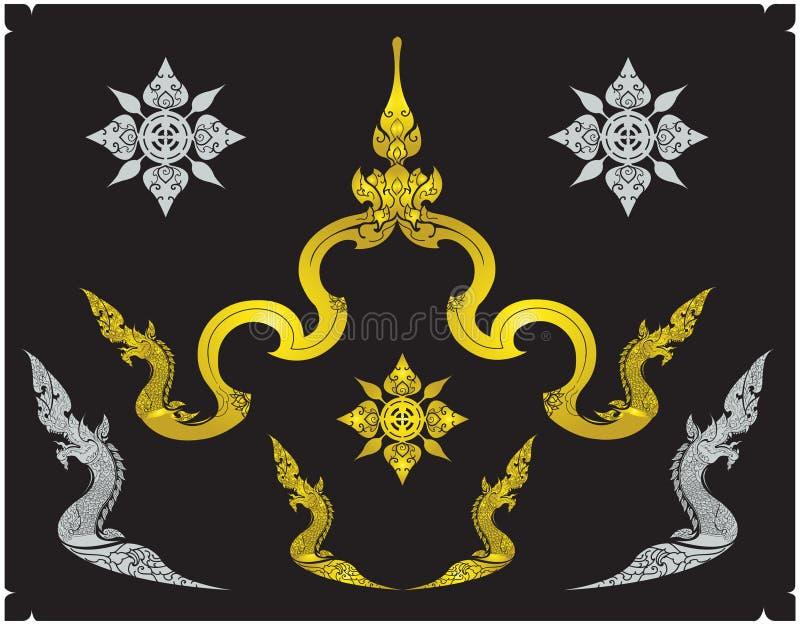 Thaise ornamentontwerp en grens Thai stock afbeelding