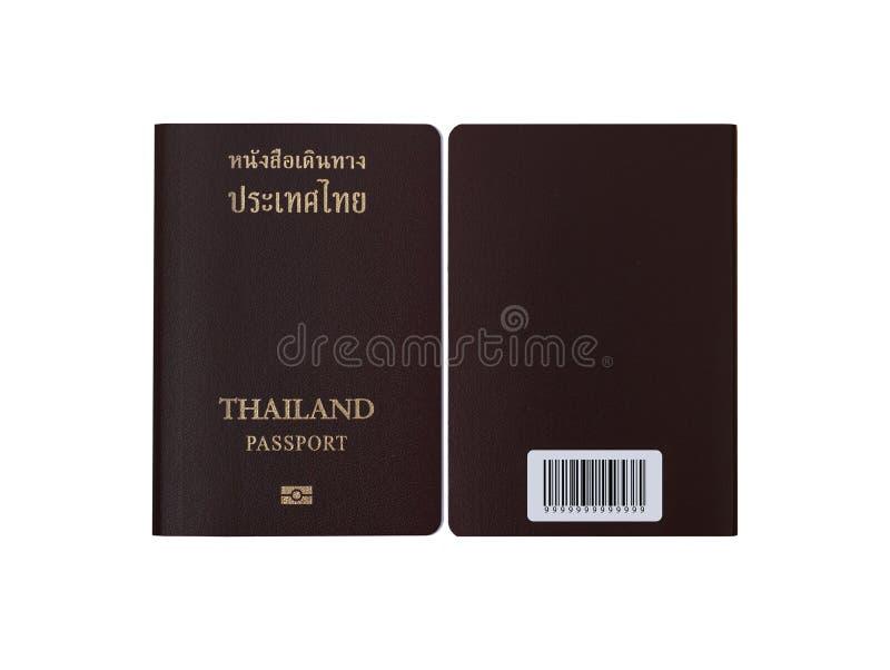 Thaise paspoort voordiekant en achterkant op wit wordt geïsoleerd stock afbeeldingen