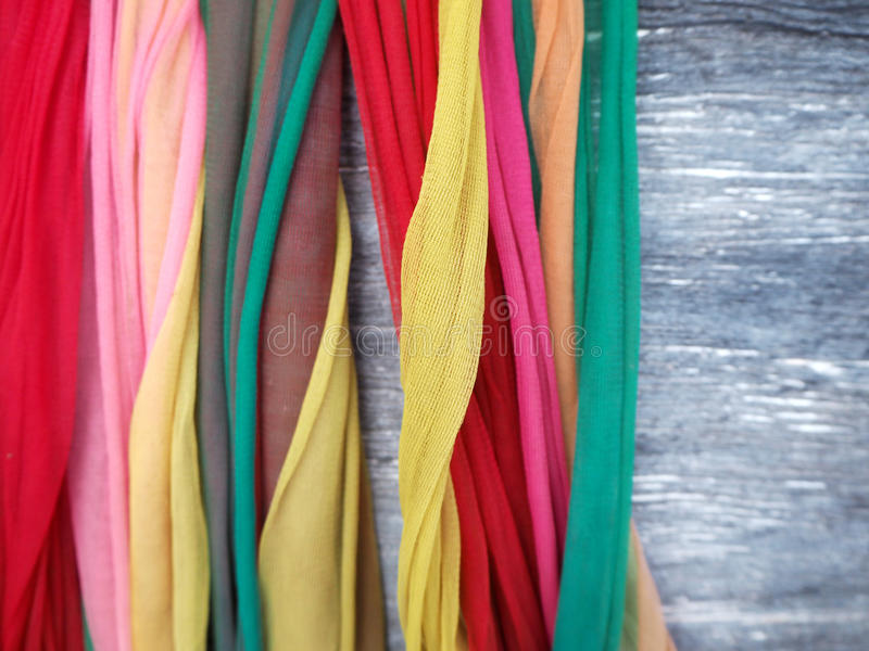 Thaise Stijl Drie Kleurenstof voor Thai gelooft stock fotografie