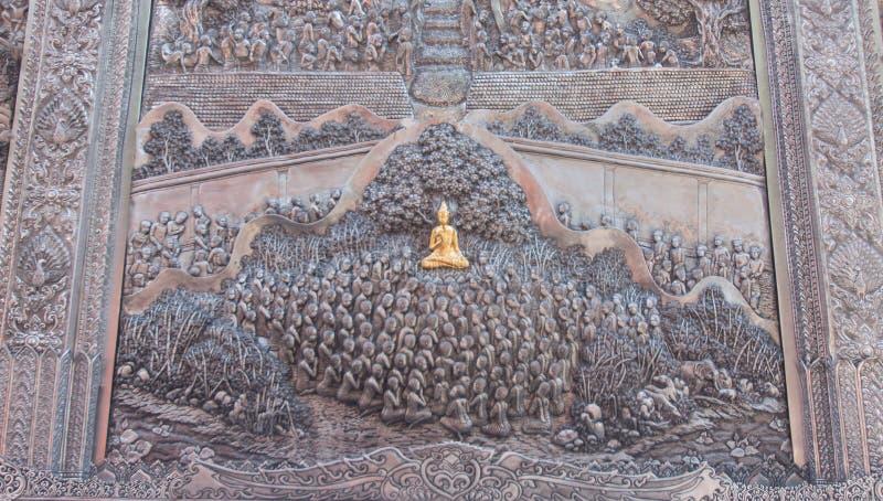 Thaise stijl zilveren het snijden kunst op tempelmuur Wat Srisupan, Chia royalty-vrije stock fotografie
