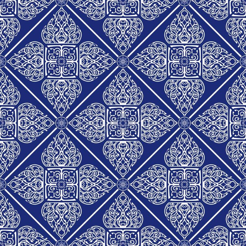Thaise traditionele bloem in het Ornament naadloos patroon van de diamant vierkant vorm vector illustratie