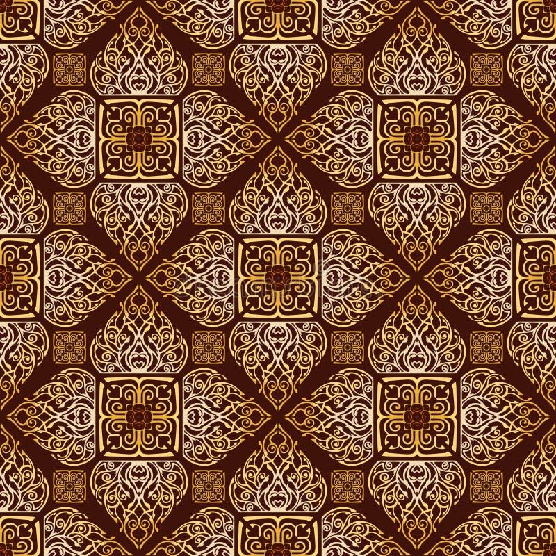 Thaise traditionele bloem in het Ornament naadloos patroon van de diamant vierkant vorm stock fotografie
