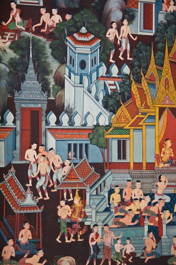Thaise traditionele muurschildering stock afbeeldingen