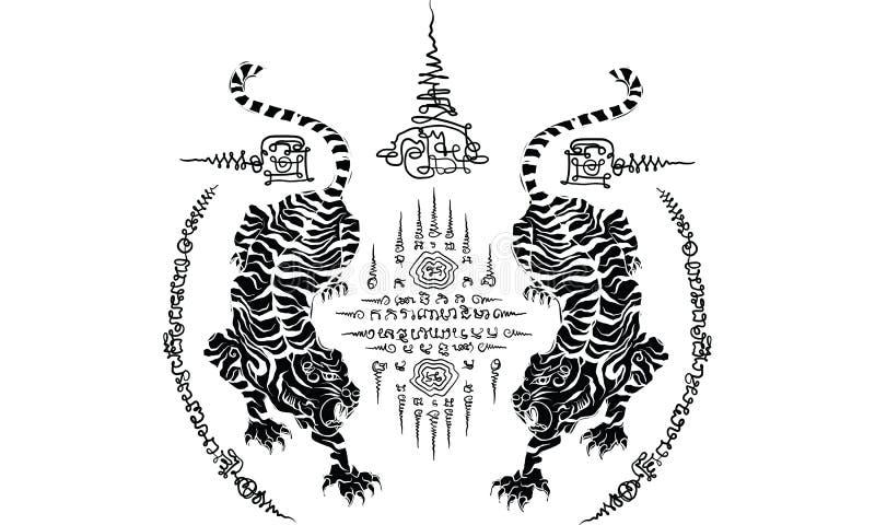 Thaise traditionele tatoegering, het Thaise traditionele schilderen in tempelvector stock afbeeldingen