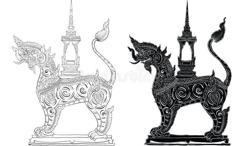 Thaise traditionele tatoegering, het Thaise traditionele schilderen in tempelvector royalty-vrije stock afbeeldingen