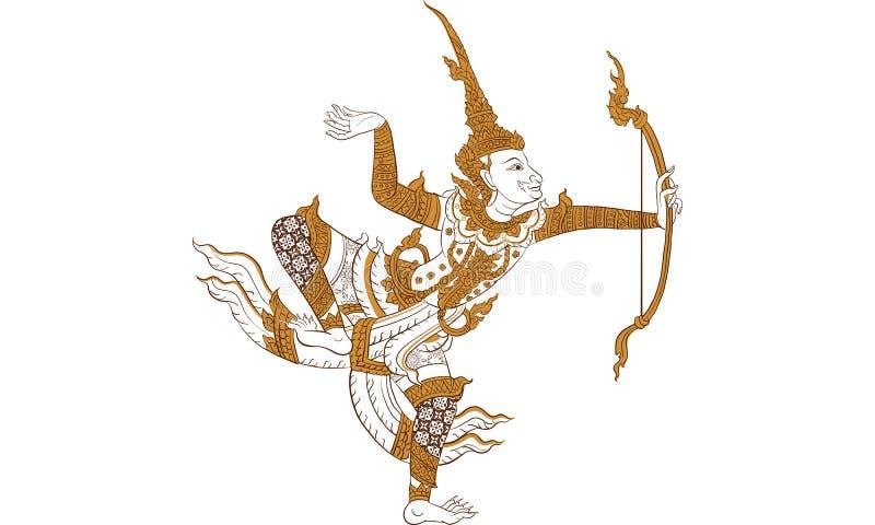 Thaise traditionele tatoegering, Thaise traditionele het schilderen vector stock foto's