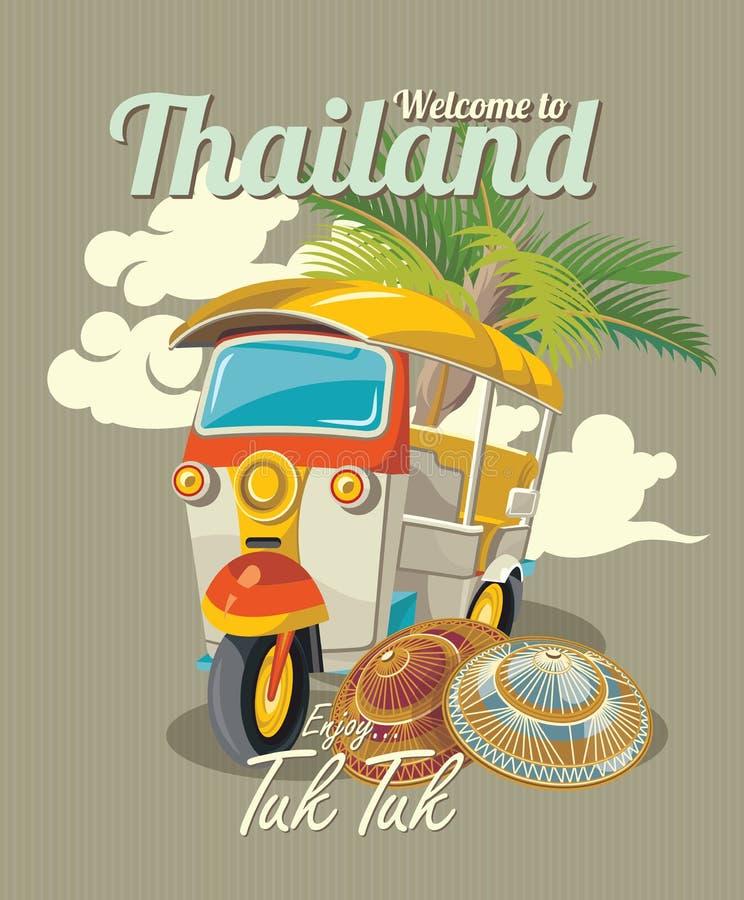 Thaise traditionele Tuk Tuk in Bangkok van Thailand stock illustratie