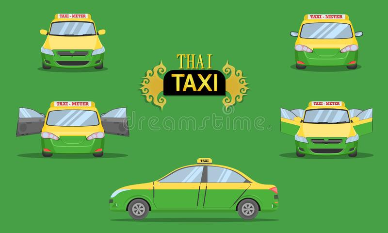 Thaise voor van de de vervoersdienstpassagier van de de achterkantmening van de taxiglb auto voertuigtype geelgroene vectorillust vector illustratie