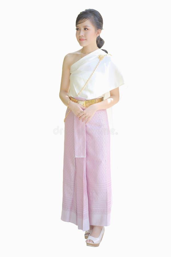 Thaise vrouwen die Thaise die kleren dragen op witte achtergrond worden geïsoleerd royalty-vrije stock afbeeldingen