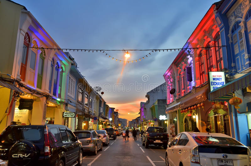 Thalang Road at twilight in Phuket Old Town. Every evening the sino-portuguese style buildings of Thalang Road, thanon Thalang in Thai, in Phuket Old Town royalty free stock image