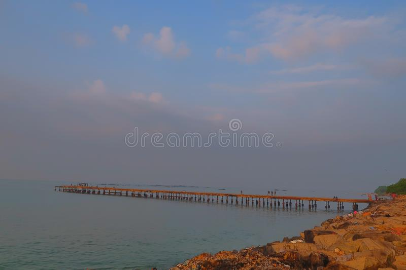 Thalassery kadalpalam bridge, Kannur. Thalassery kadalpalam bridge in kannur sea view and blue sky. It is located in Kannur district of Kerala state of india stock images