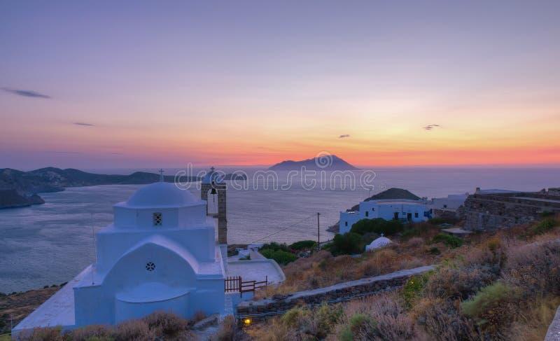thalassitra ηλιοβασιλέματος panagia milos στοκ εικόνες
