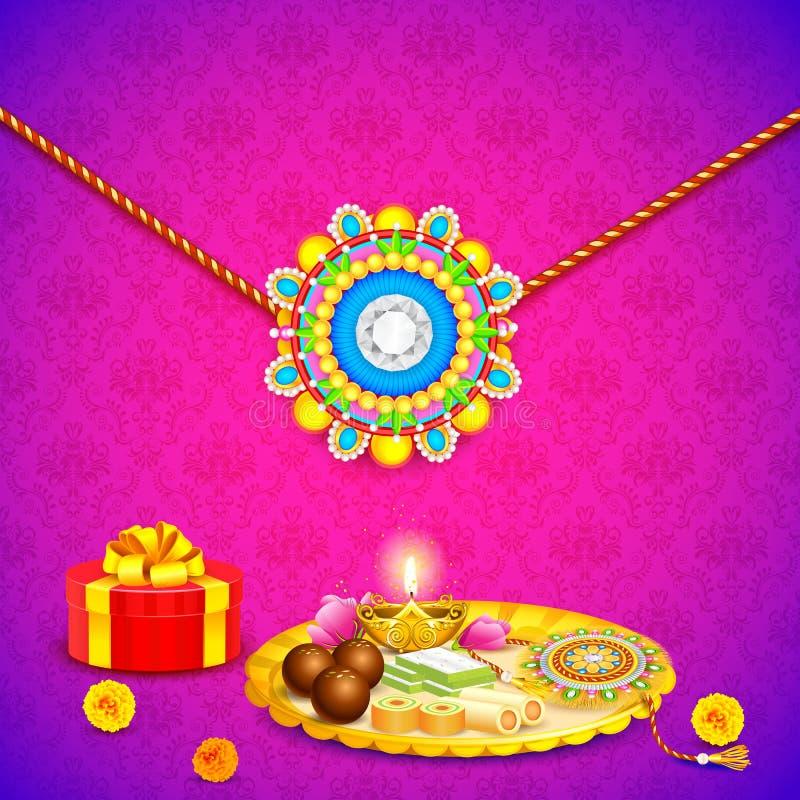 Thali decorado com o Rakhi para Raksha Bandhan ilustração royalty free