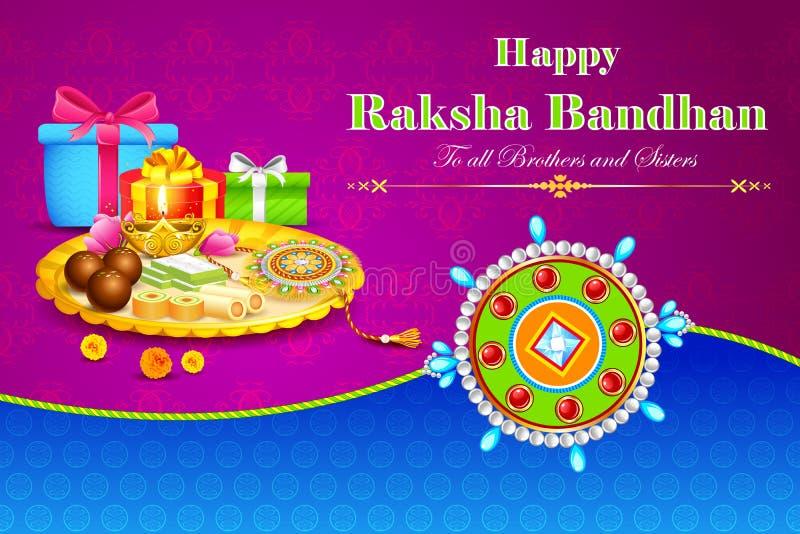 Thali decorado com o Rakhi para Raksha Bandhan ilustração stock
