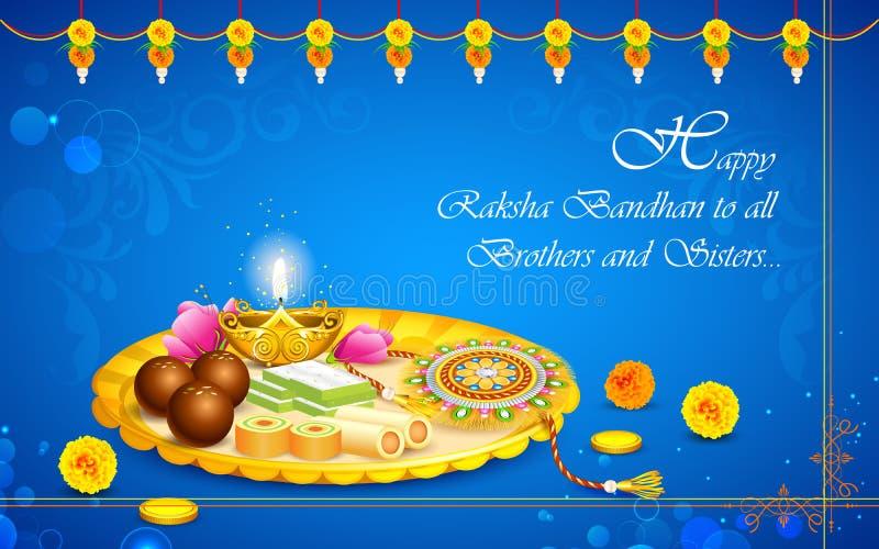 Thali decorato con Rakhi per Raksha Bandhan illustrazione vettoriale