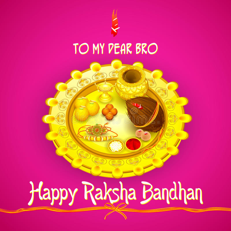 Thali do pooja de Rakhi para Raksha Bandhan ilustração stock