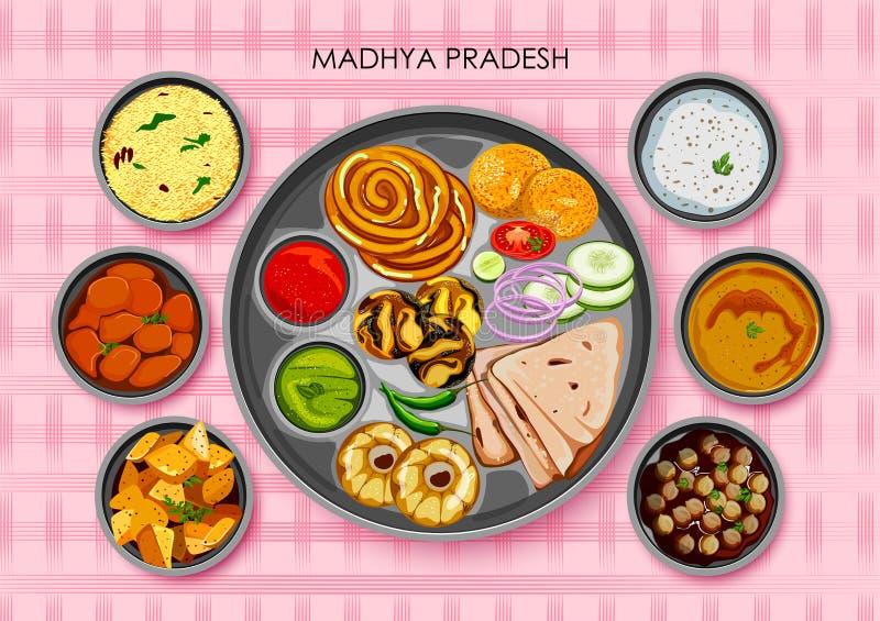 Thali traditionnel de repas de cuisine et de nourriture de Madhya Pradesh illustration libre de droits