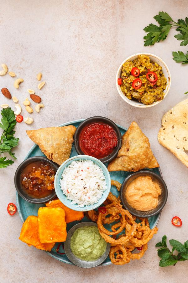 Thali vegetariano indio foto de archivo libre de regalías