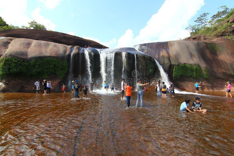 'Tham Phra' Waterfall Bungkan thailand. BUNGKAN, THAILAND - August 22, 2015: Unknown person, 'Tham Phra' Waterfall, People are playing waterfall. Bungkan 2015 royalty free stock photo