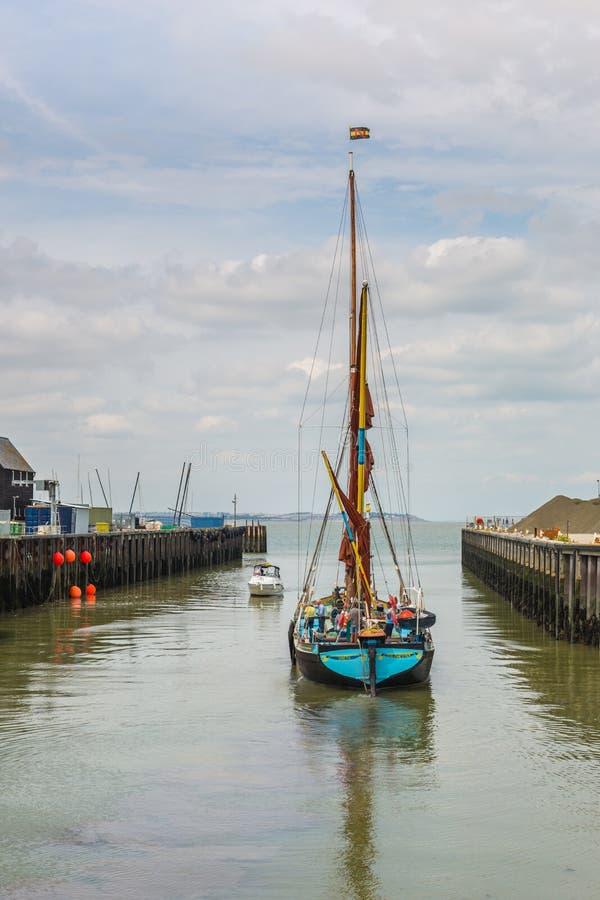 Thames żeglowania barka, Whitstable fotografia royalty free