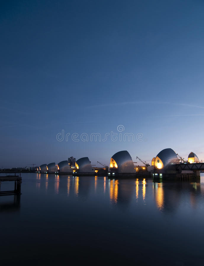 Thames Barrier At Dawn Stock Image