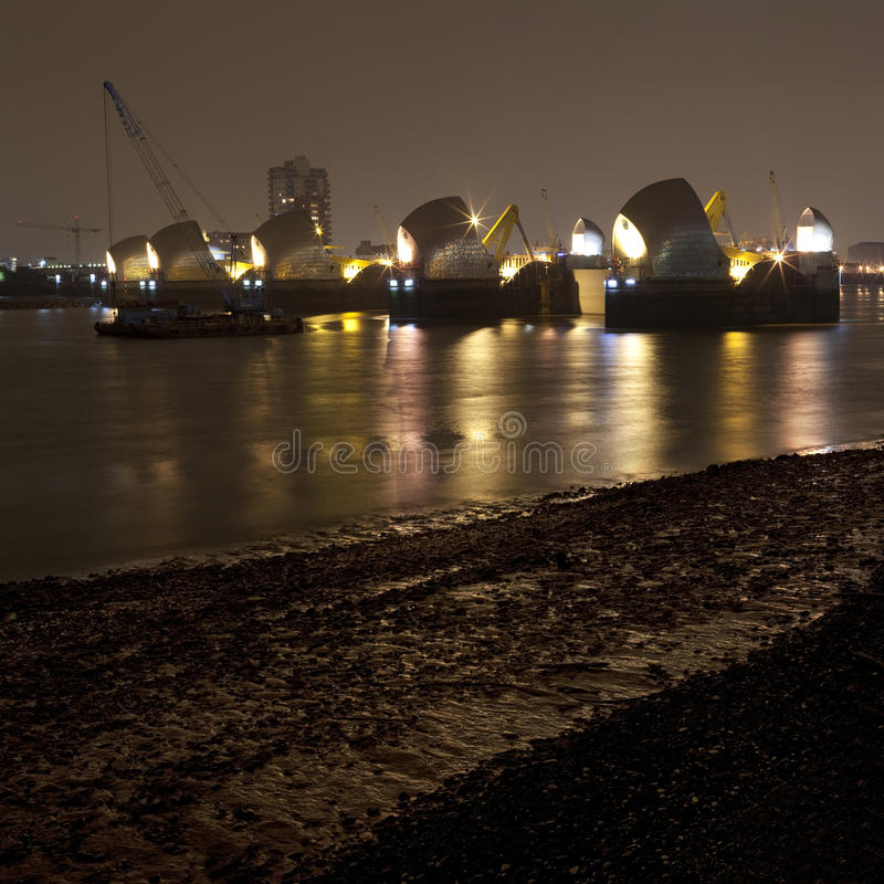 Thames Barrier At Night Stock Photo