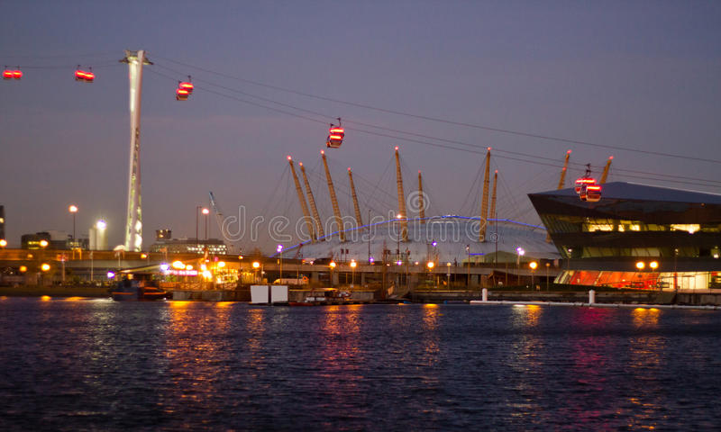 Thames cable car and O2 Arena royalty free stock photos