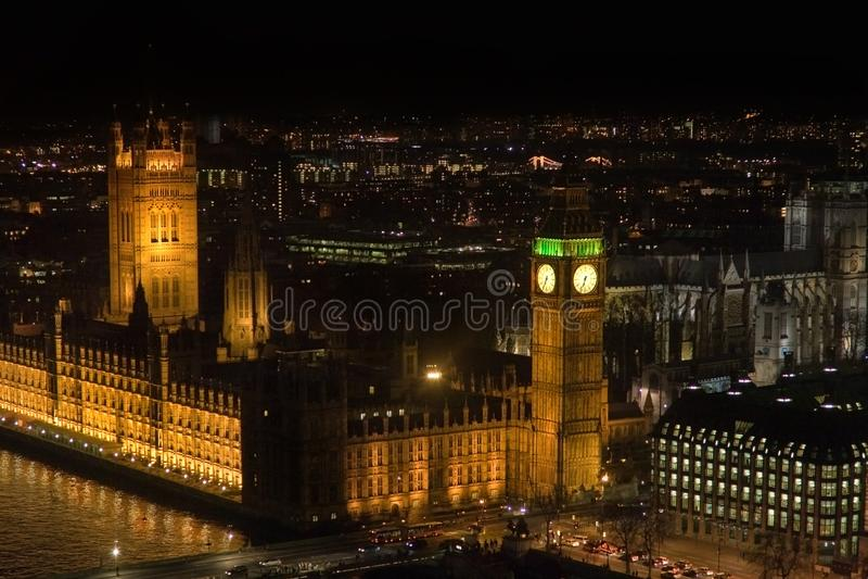 Thames Illuminated by Big Ben stock image