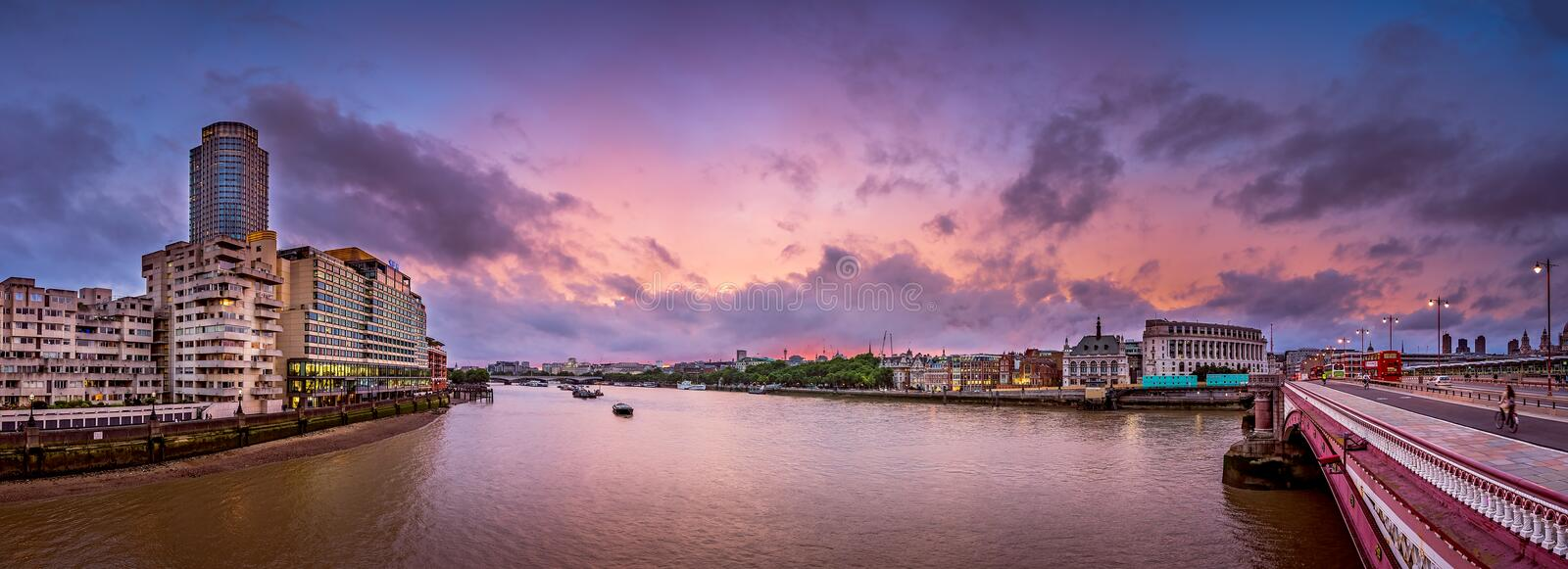Thames panorama from Blackfriars Bridge stock photos