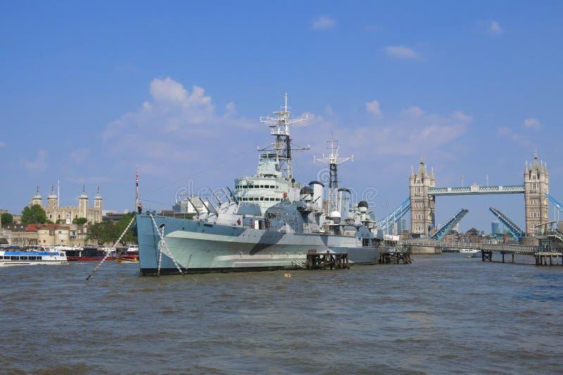 Thames River, London, Tower Bridge, HMS Belfast, Tower of London royalty free stock image