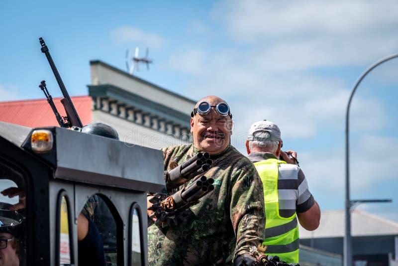 Thames,Waikato - November 10 : Steam Punk parade on November 10, 2018 on the main street of Thames in New Zealand . royalty free stock image