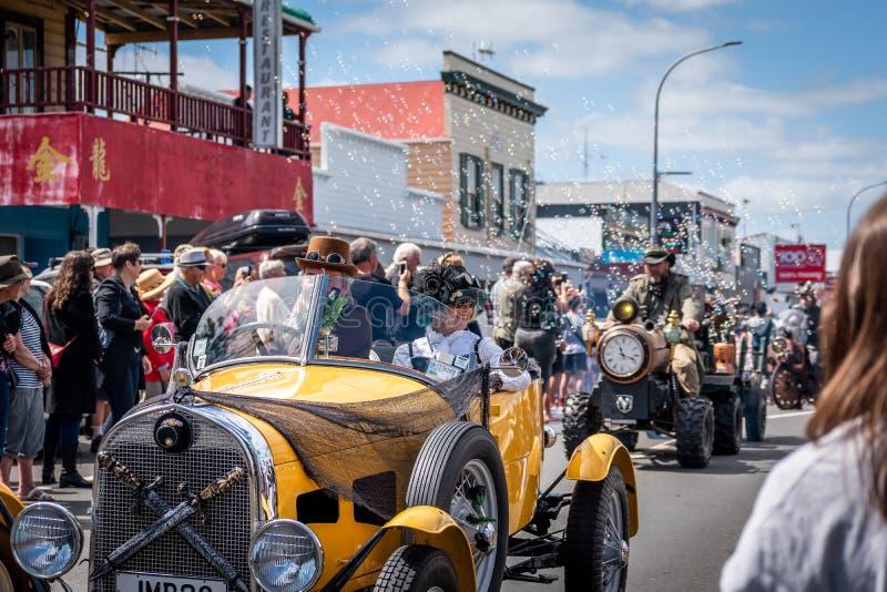 Thames,Waikato - November 10 : Steam Punk parade on November 10, 2018 on the main street of Thames in New Zealand . stock photography